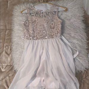 Classy Ivory Flowy Sequin Dress